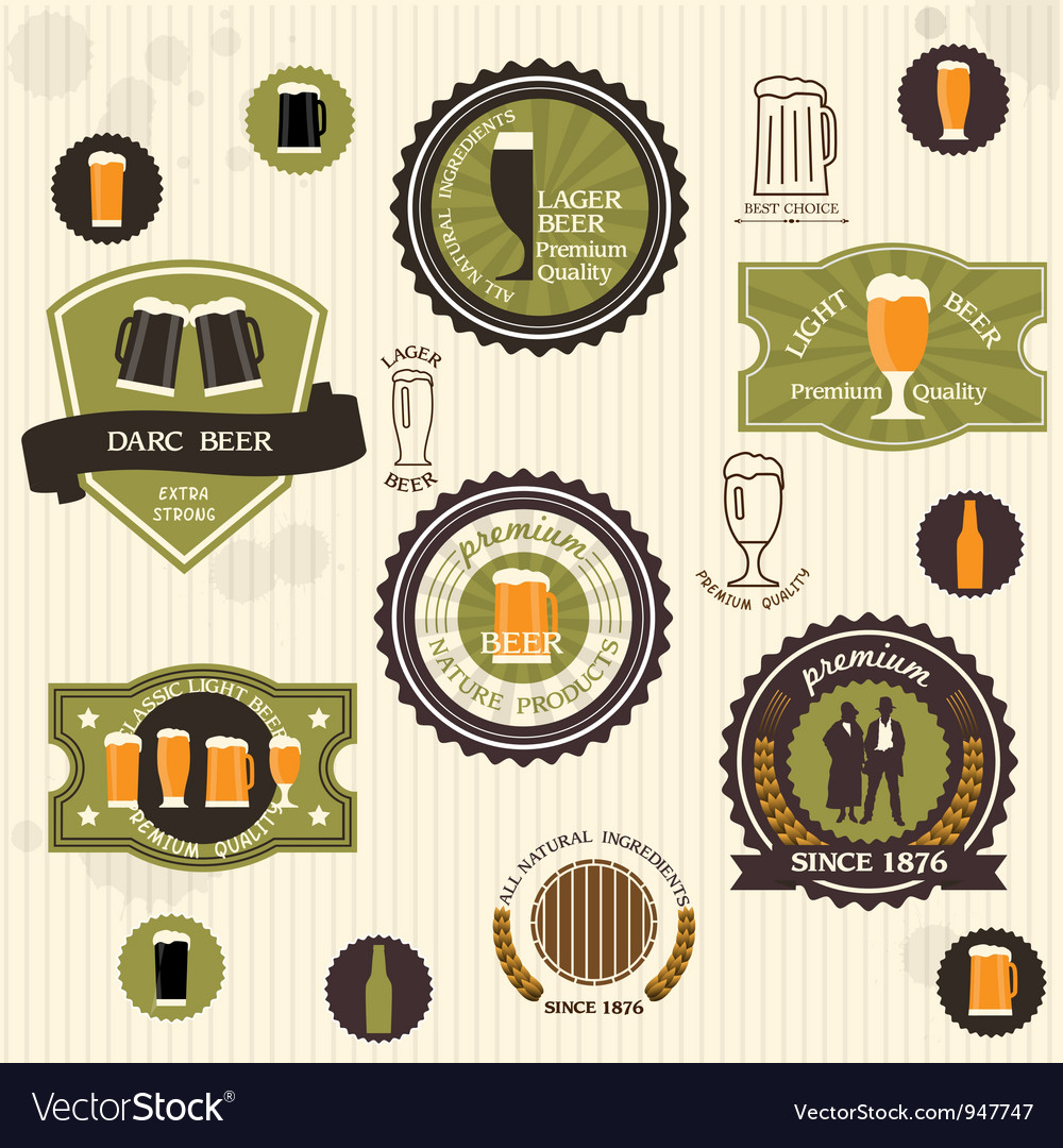 Beer badges and labels in vintage style vector | Price: 1 Credit (USD $1)