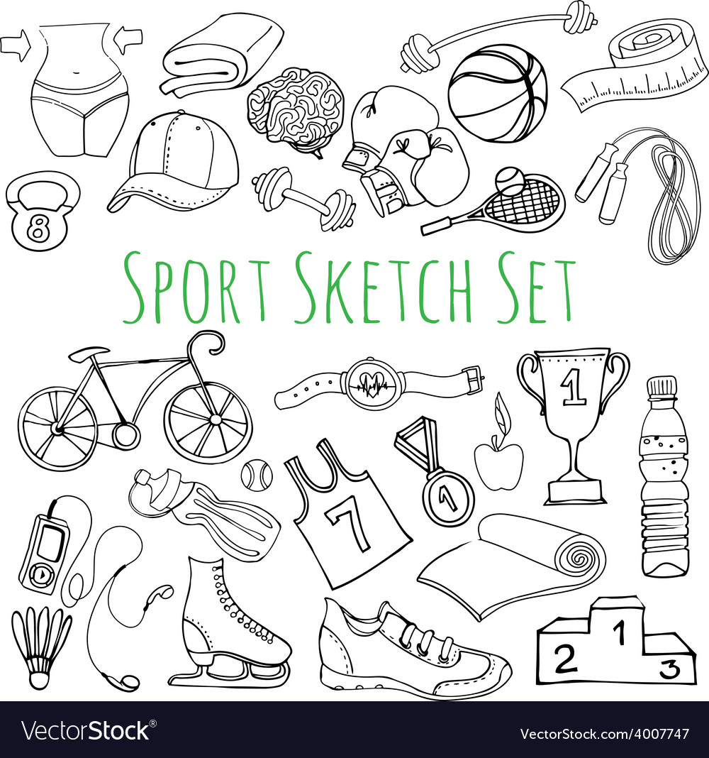 Black and white sport and fitness seamless doodle vector | Price: 1 Credit (USD $1)