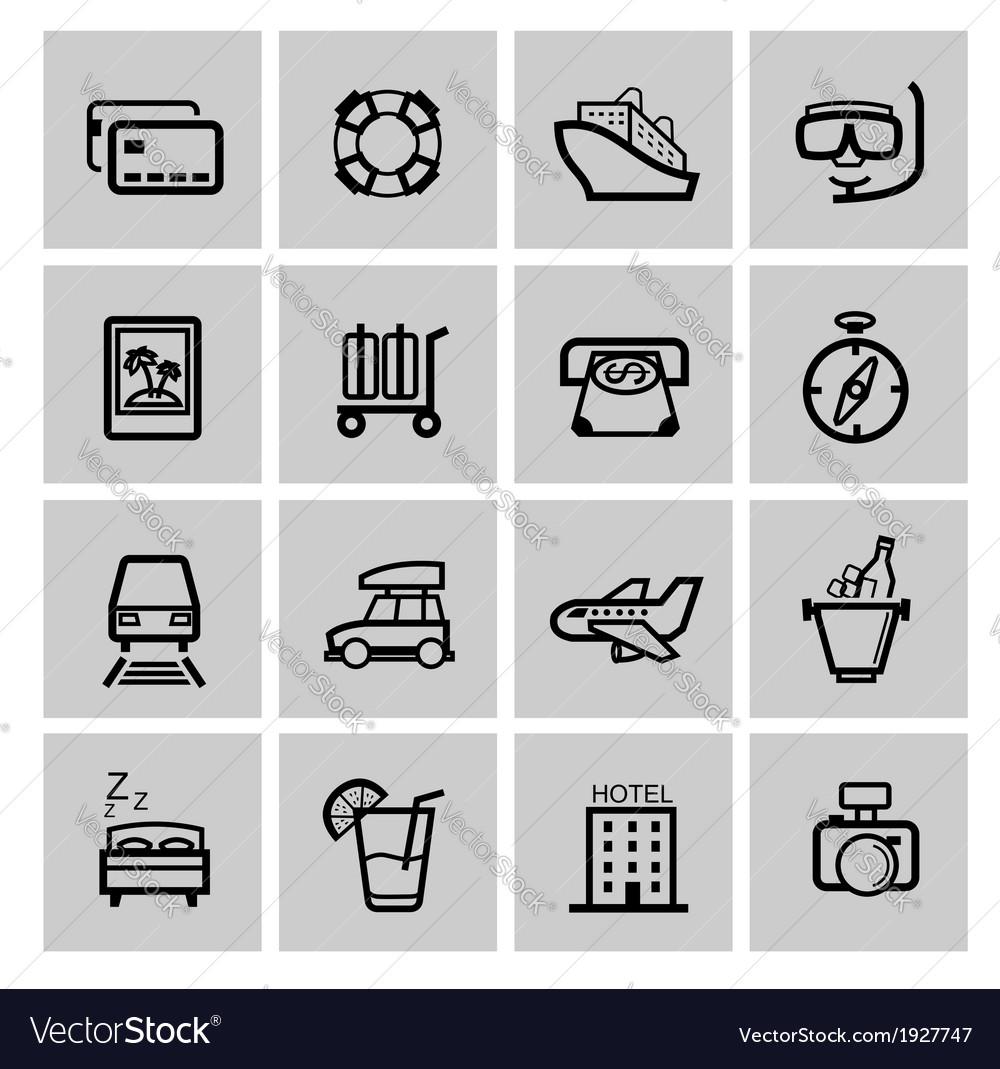 Black vacation travel icon set vector | Price: 1 Credit (USD $1)