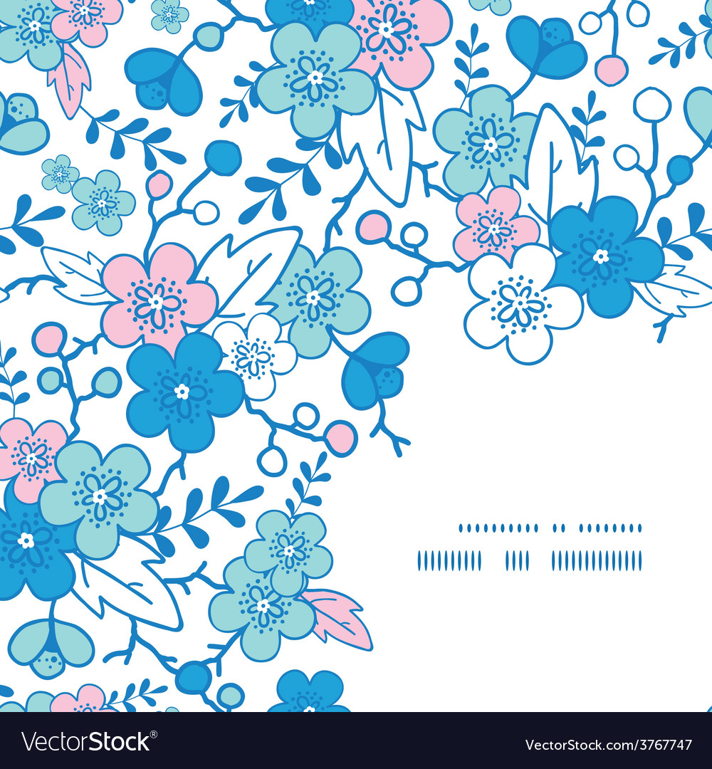 Blue and pink kimono blossoms frame corner vector | Price: 1 Credit (USD $1)
