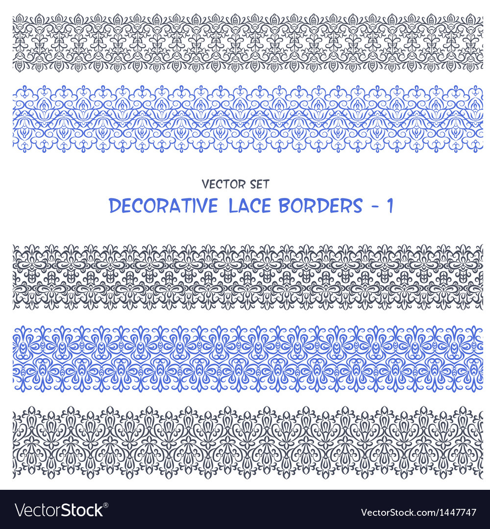 Decorative floral lace seamless borders vector | Price: 1 Credit (USD $1)