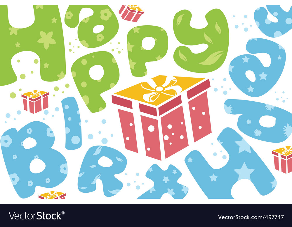 Happy birthday card with present vector | Price: 1 Credit (USD $1)