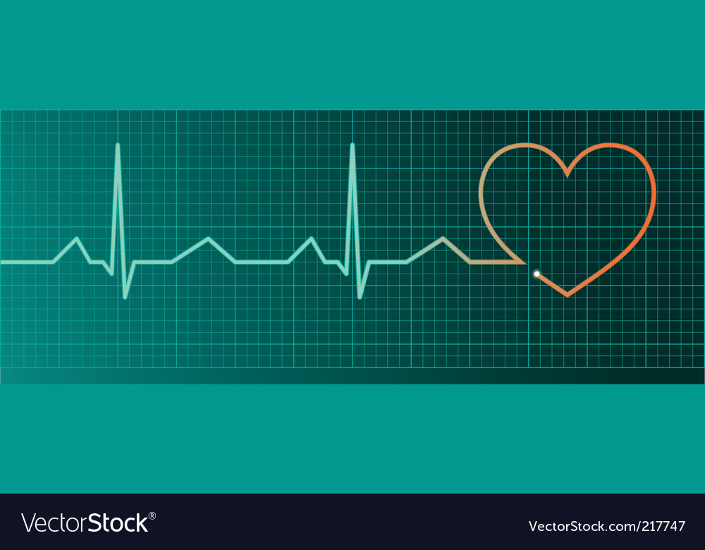 Heart pulse monitor red heart vector | Price: 1 Credit (USD $1)
