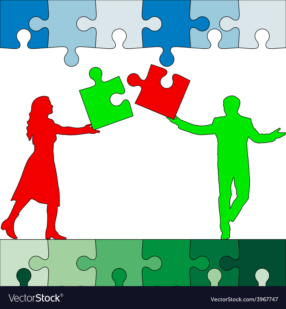 Jigsaw puzzle hold silhouettes of men and women vector | Price: 1 Credit (USD $1)