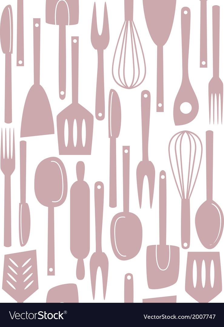 Kitchen utensils seamless vector | Price: 1 Credit (USD $1)