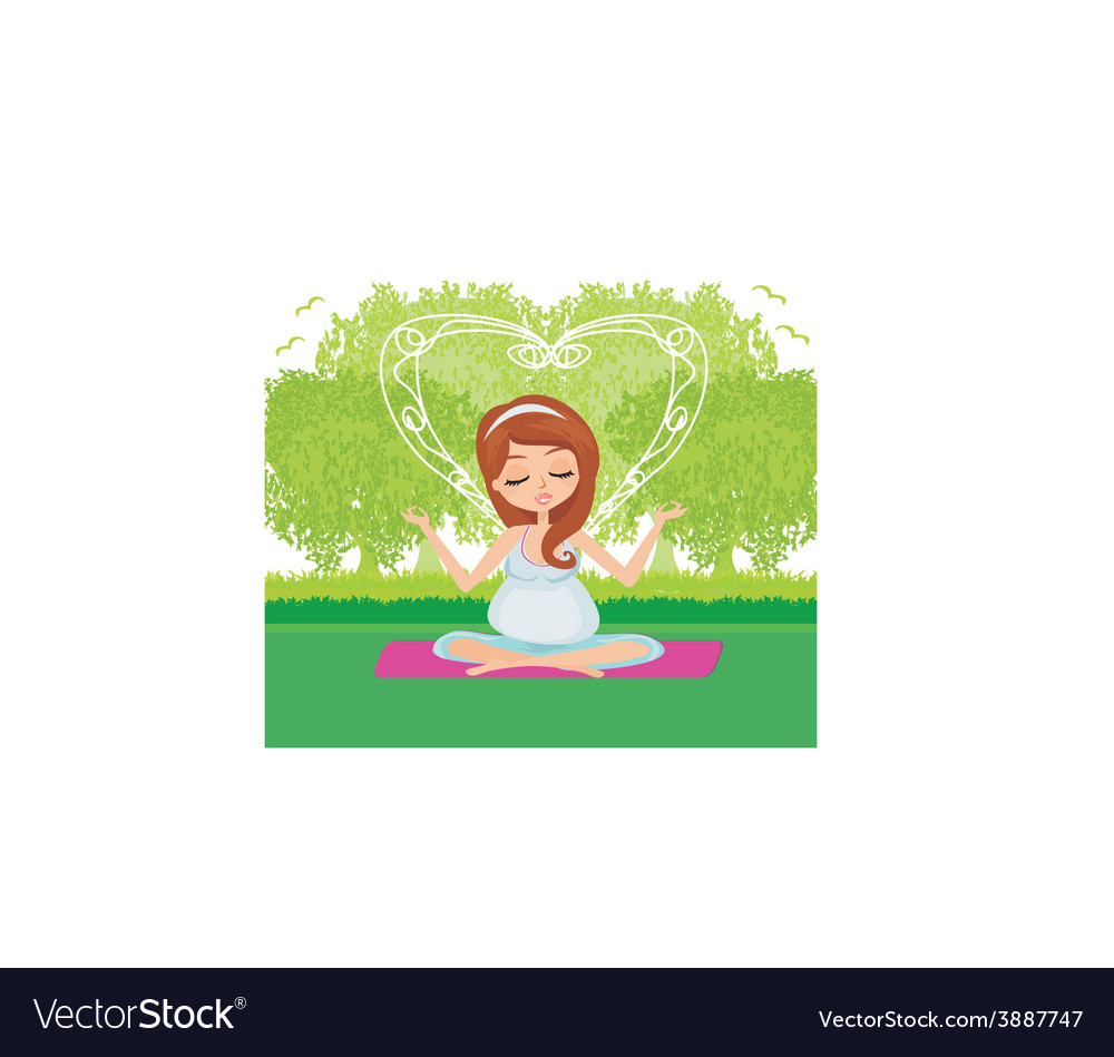 Pregnant woman relax doing yoga vector | Price: 1 Credit (USD $1)