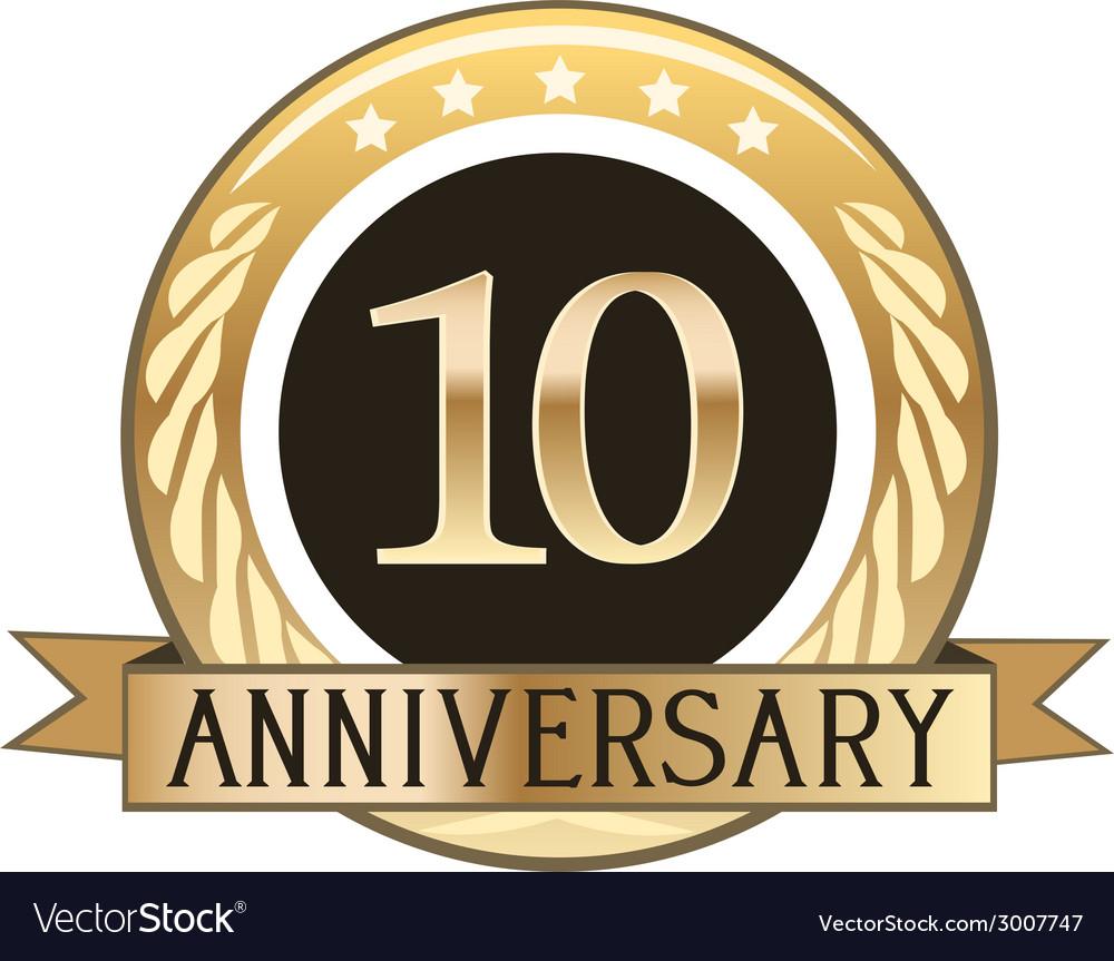 Ten year anniversary badge vector | Price: 1 Credit (USD $1)