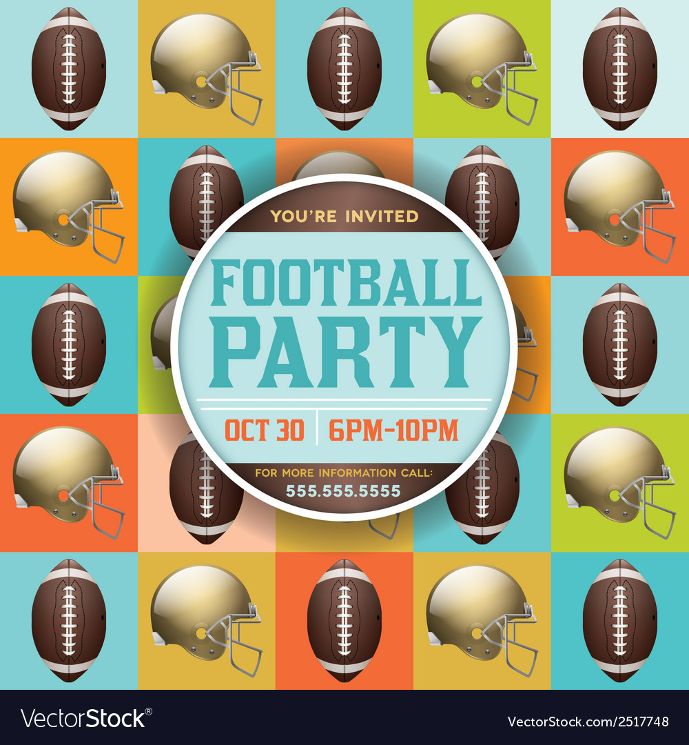 American football party pattern invitation vector | Price: 1 Credit (USD $1)