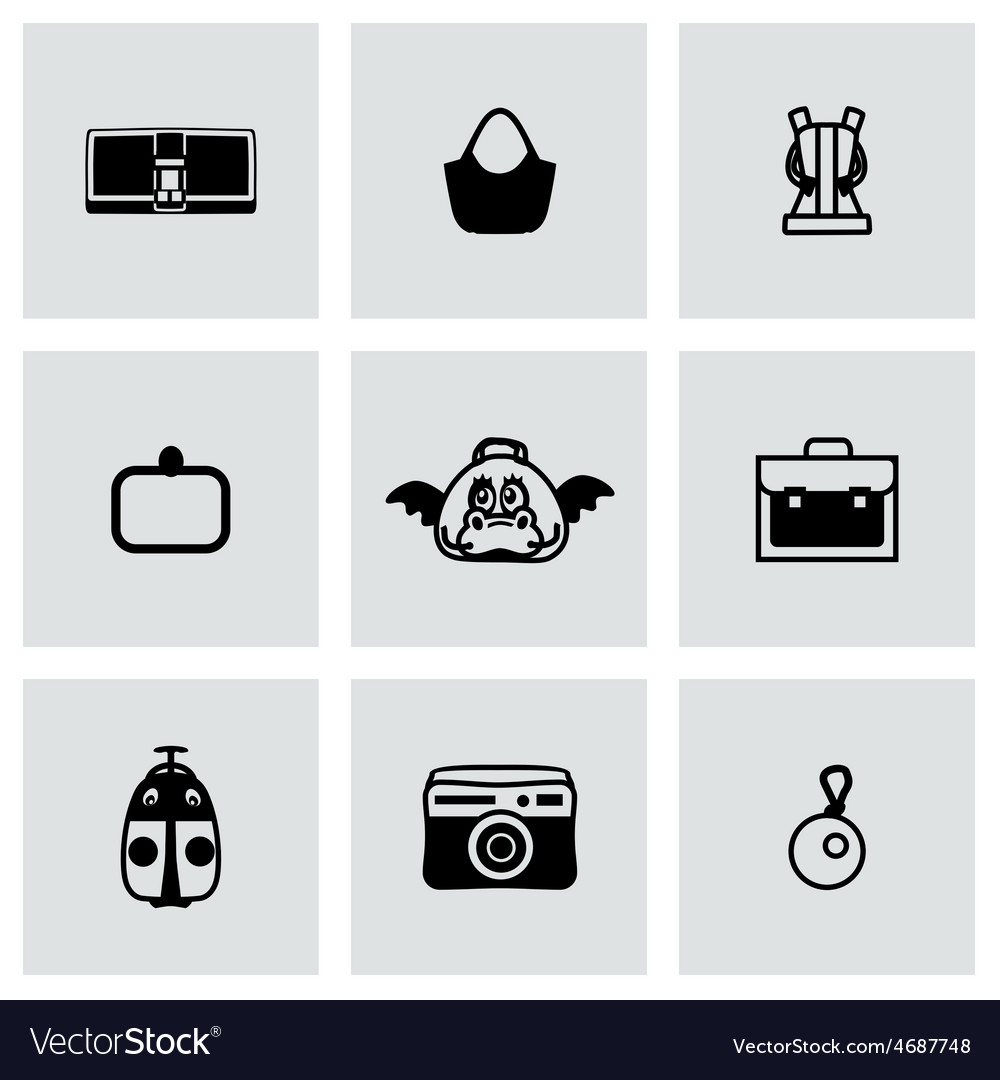 Bag icon set vector | Price: 1 Credit (USD $1)