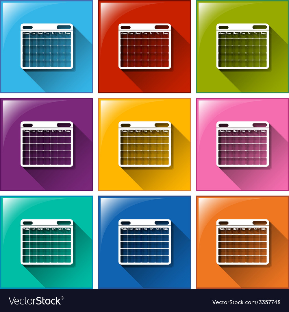 Calendar icons vector | Price: 1 Credit (USD $1)