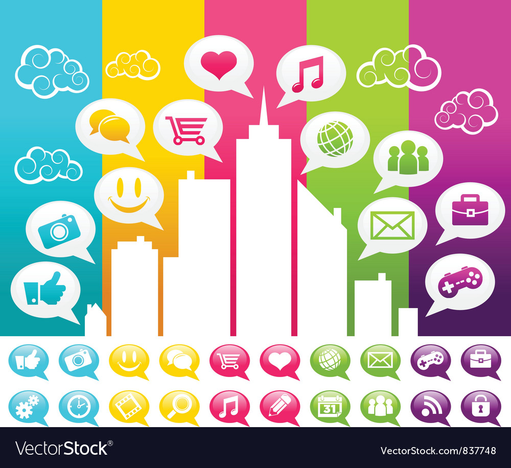 Colorful city with social media icons vector | Price: 1 Credit (USD $1)