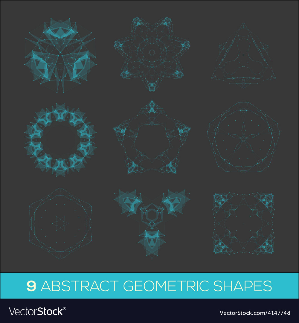 Set of geometric shapes lowpoly shapes triangles vector