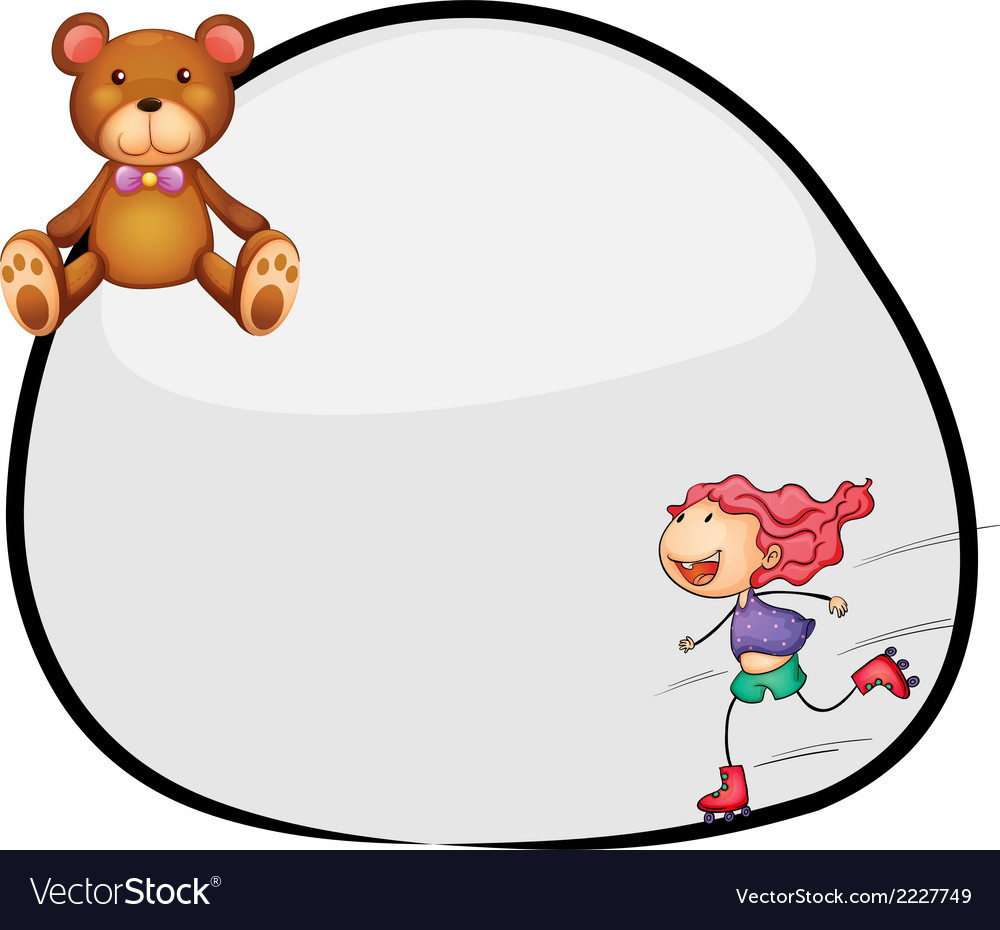 A round template with a young girl rollerskating vector | Price: 1 Credit (USD $1)