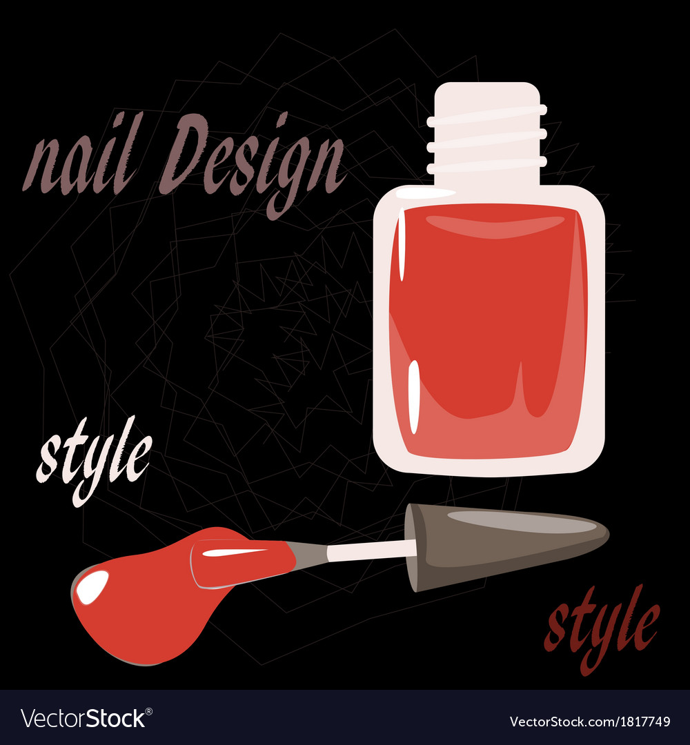 Bottle nail polish on the black background vector | Price: 1 Credit (USD $1)