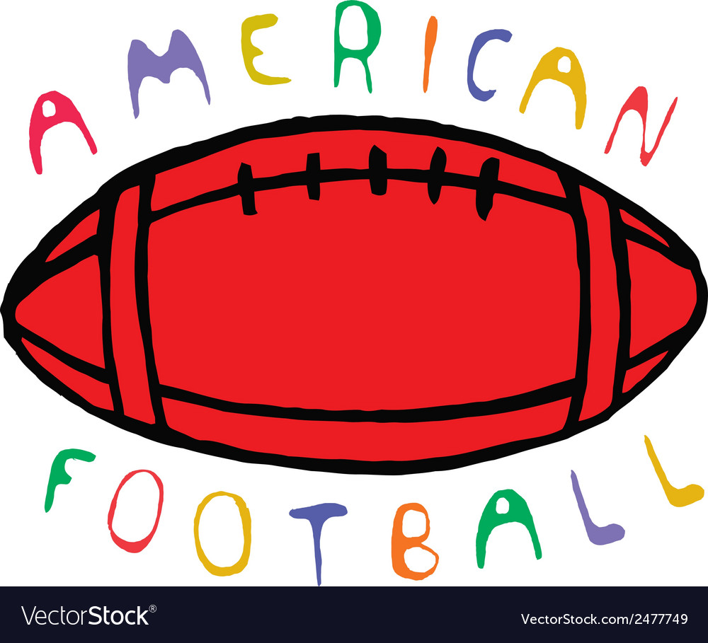 Color american football design with text vector | Price: 1 Credit (USD $1)