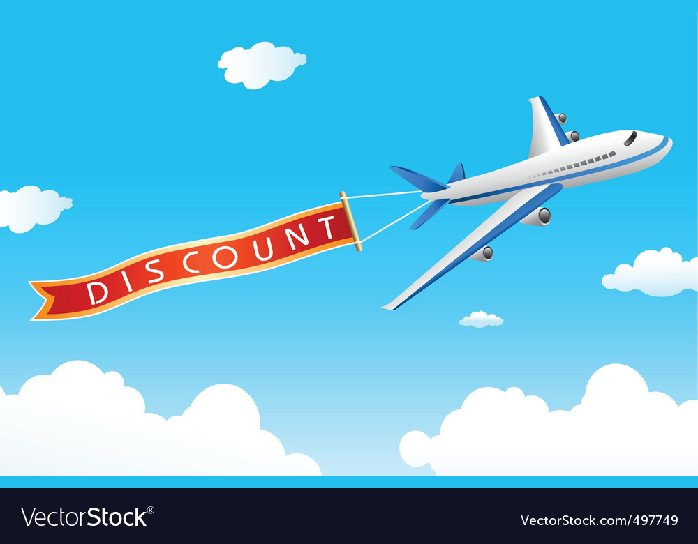 Discount tag with plane vector | Price: 1 Credit (USD $1)
