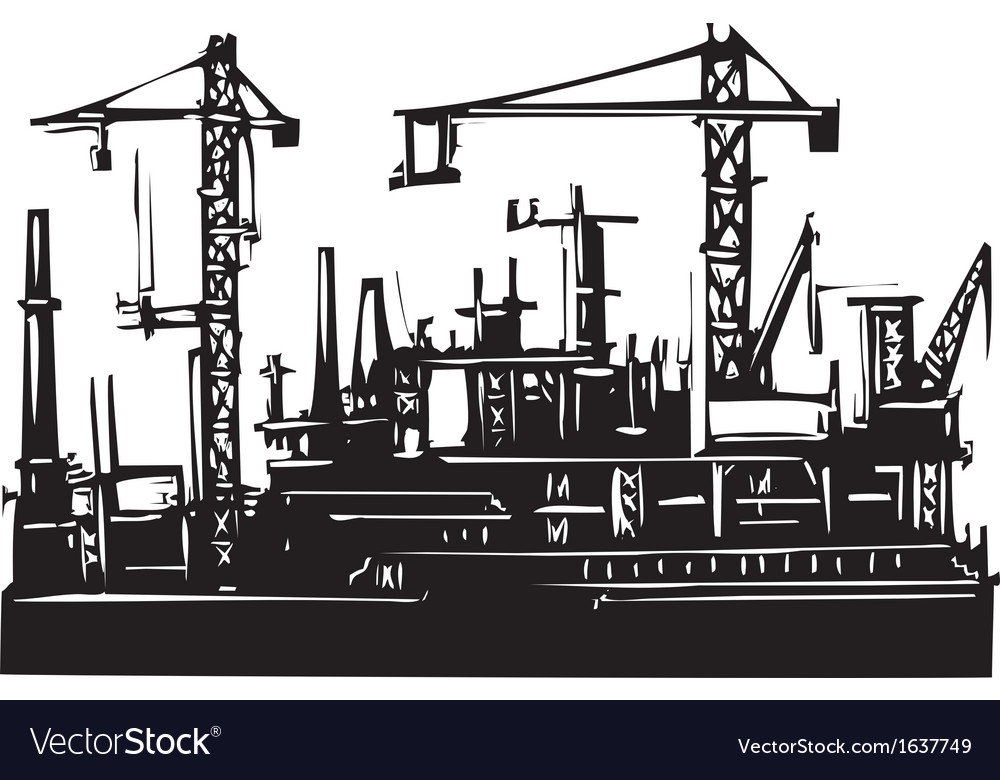 Docks and cranes vector | Price: 1 Credit (USD $1)