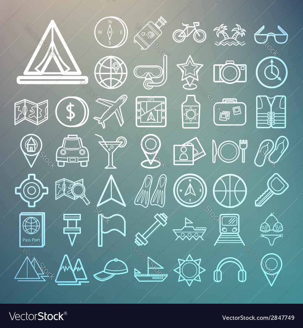 Equipment travel and sea icons retina vector | Price: 1 Credit (USD $1)