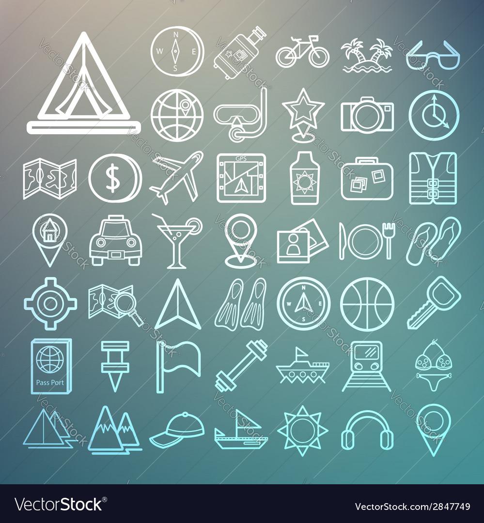 Equipment travel and sea icons retina vector | Price: 1 Credit (USD $1)
