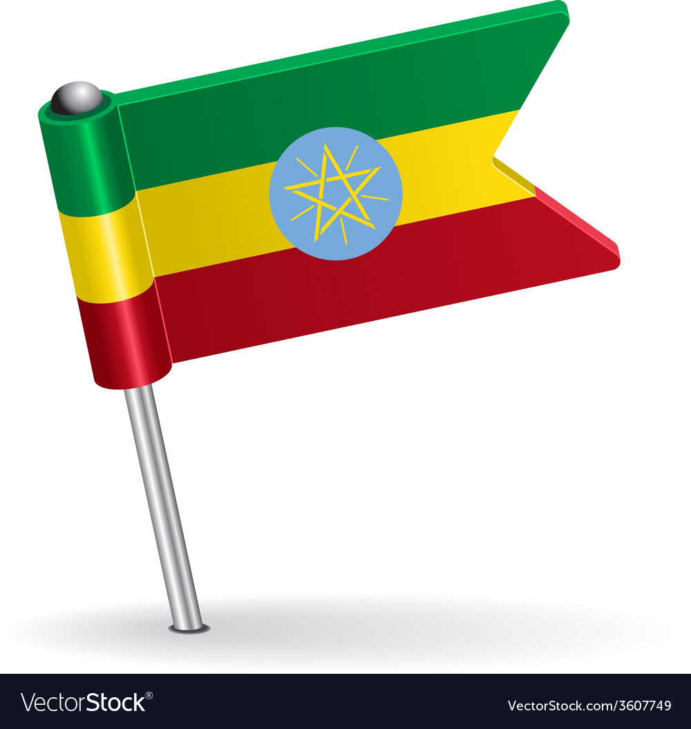 Ethiopian pin icon flag vector | Price: 1 Credit (USD $1)