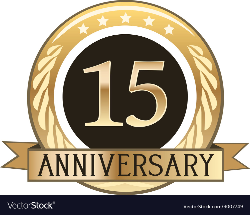 Fifteen year anniversary badge vector | Price: 1 Credit (USD $1)