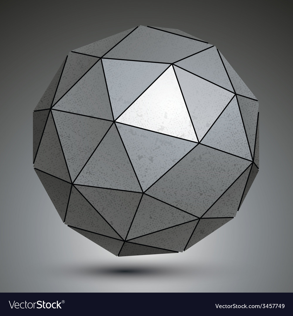 Galvanized facet 3d sphere metal abstract object vector | Price: 1 Credit (USD $1)
