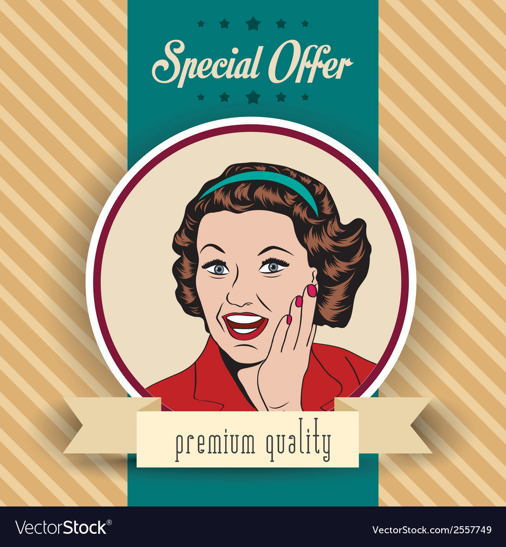 Happy woman commercial retro clipart vector | Price: 1 Credit (USD $1)