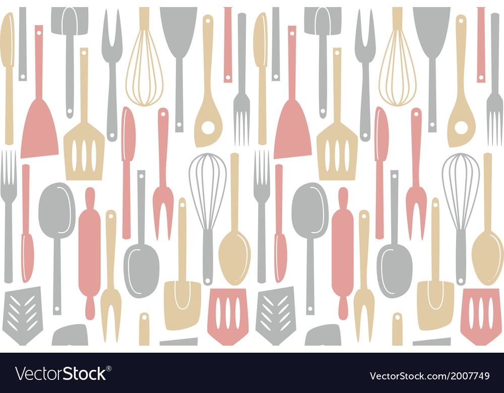 Kitchen utensils and cutlery pattern vector | Price: 1 Credit (USD $1)