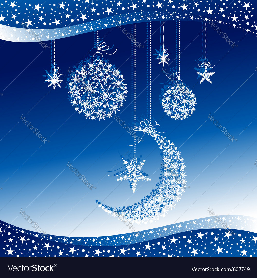 Merry christmas greeting card on blue background vector | Price: 1 Credit (USD $1)