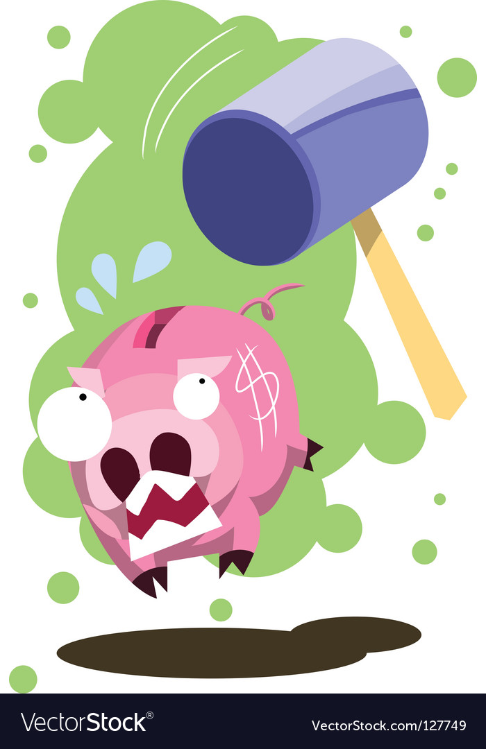 Pig hit by hammer vector | Price: 1 Credit (USD $1)