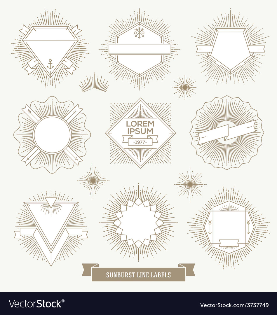 Set of line design emblem and hipster labels vector | Price: 1 Credit (USD $1)