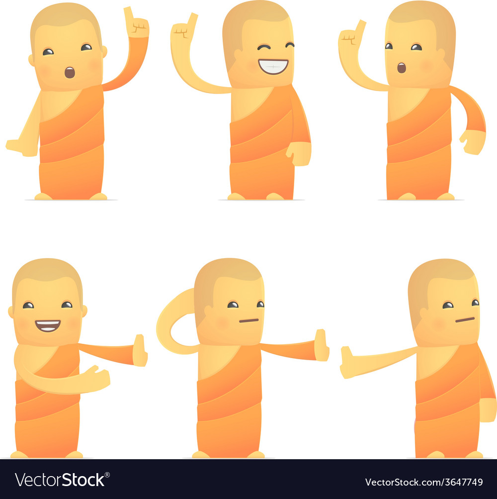 Set of monk character in different poses vector | Price: 1 Credit (USD $1)
