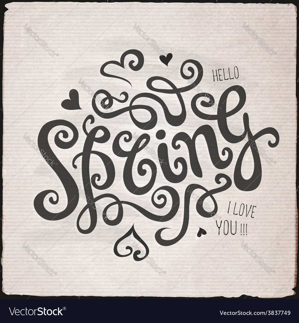 Spring hand lettering vector | Price: 1 Credit (USD $1)