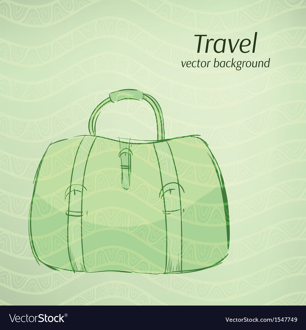 Travel background in retro green tints vector | Price: 1 Credit (USD $1)