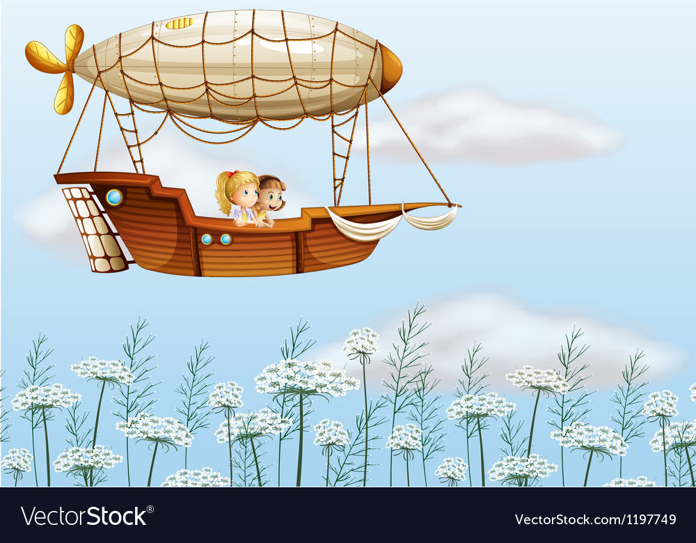 Two young ladies carried by the airship vector | Price: 1 Credit (USD $1)