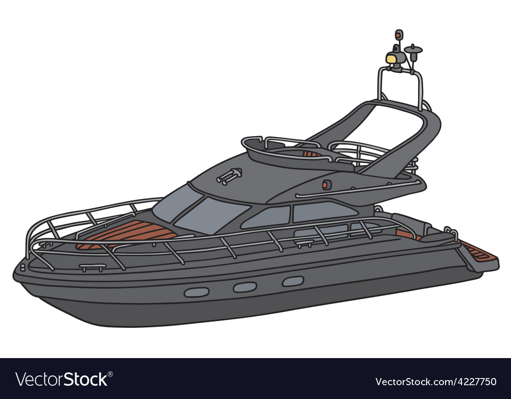 Black motor yacht vector | Price: 1 Credit (USD $1)