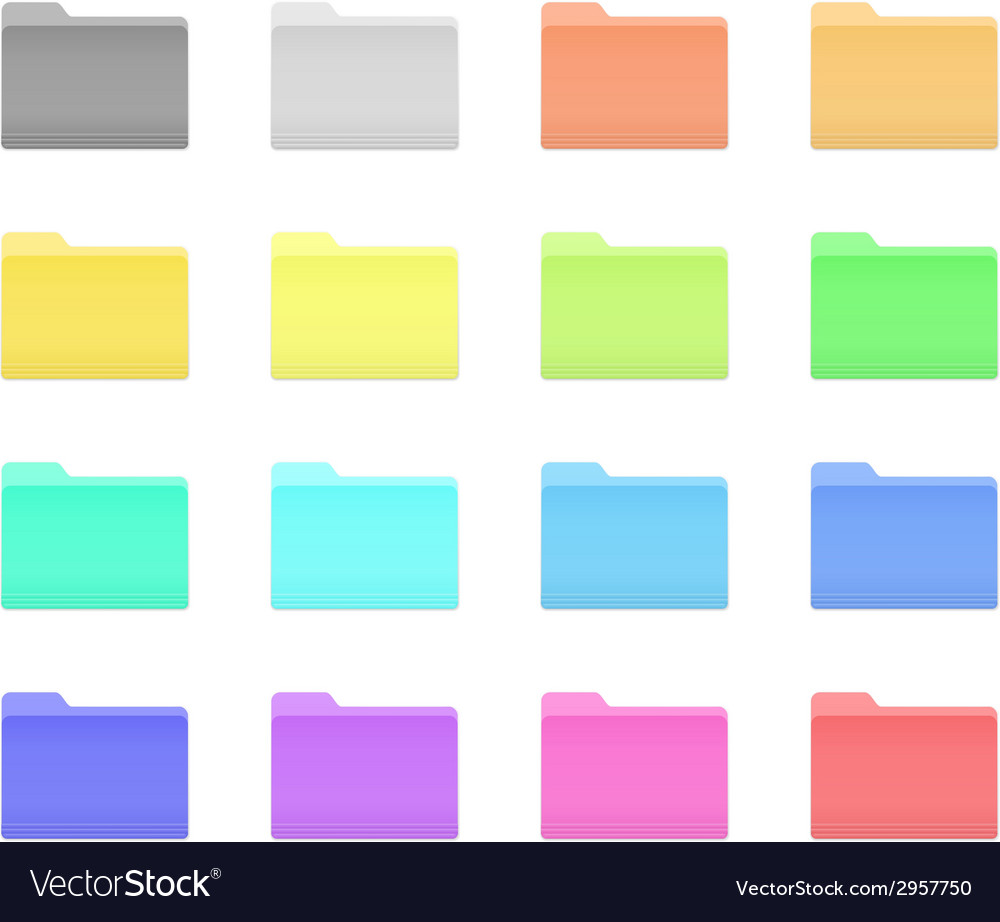 Colorful folder icons vector | Price: 1 Credit (USD $1)