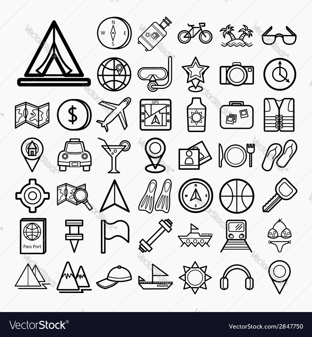 Equipment travel and sea icons vector | Price: 1 Credit (USD $1)