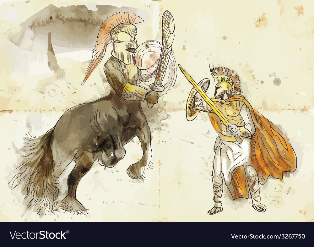 Theseus and centaur vector | Price: 1 Credit (USD $1)