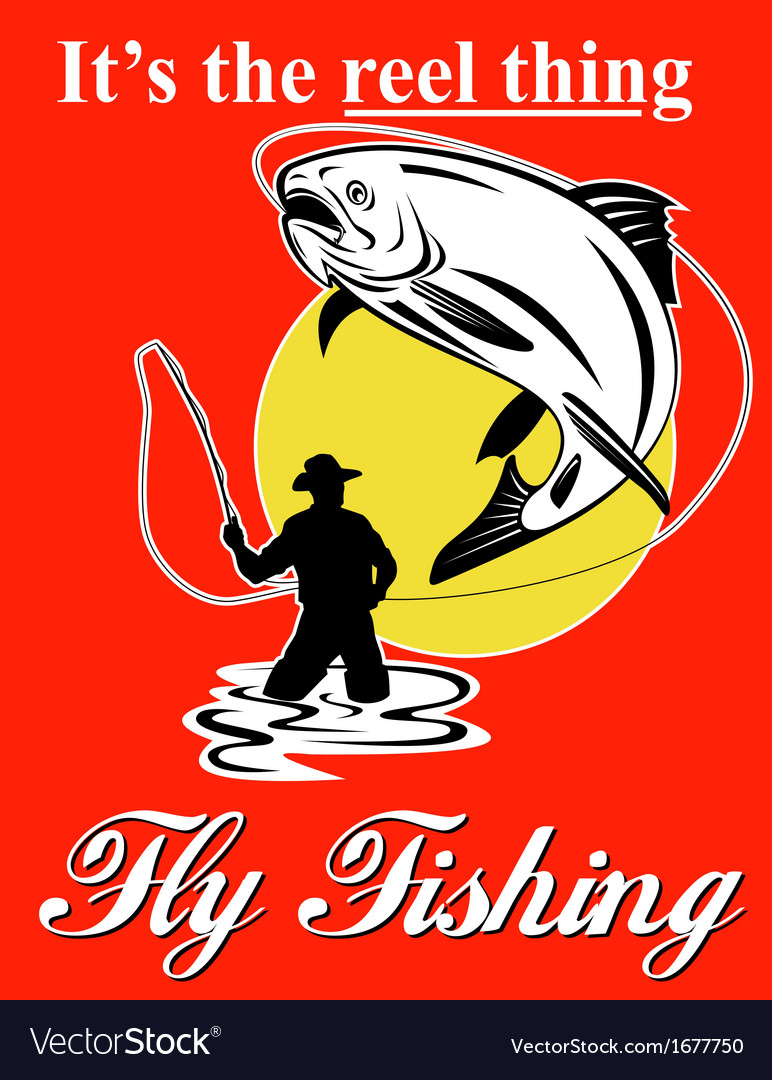 Fly fisherman catching trout with fly reel vector | Price: 1 Credit (USD $1)