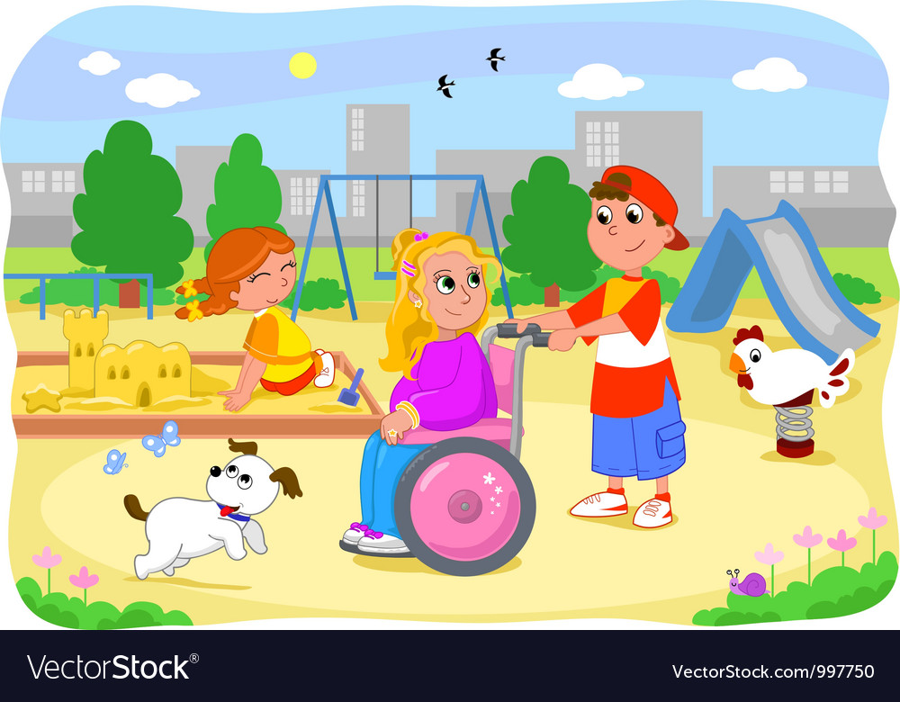 Girl on wheelchair with friends vector | Price: 3 Credit (USD $3)