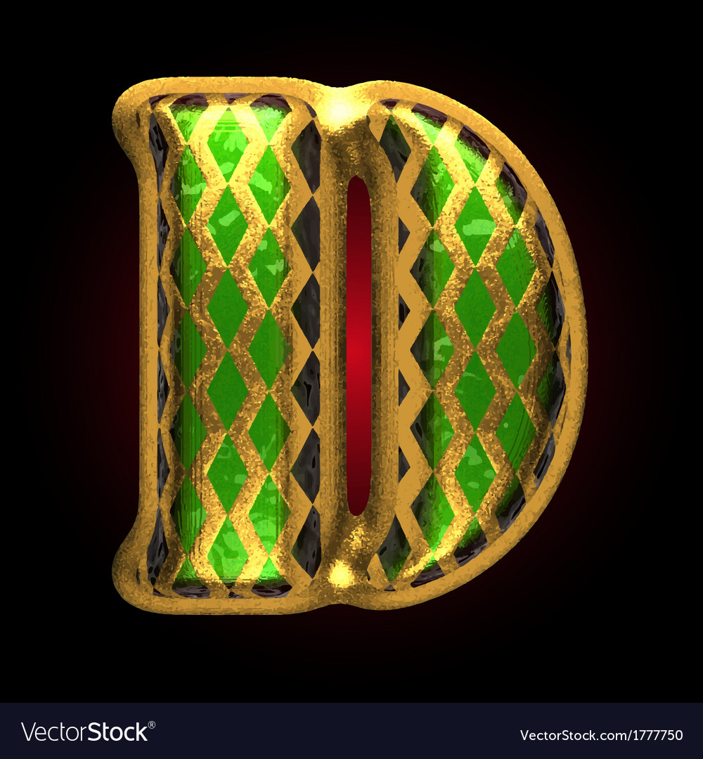 Golden and green letter d vector | Price: 1 Credit (USD $1)