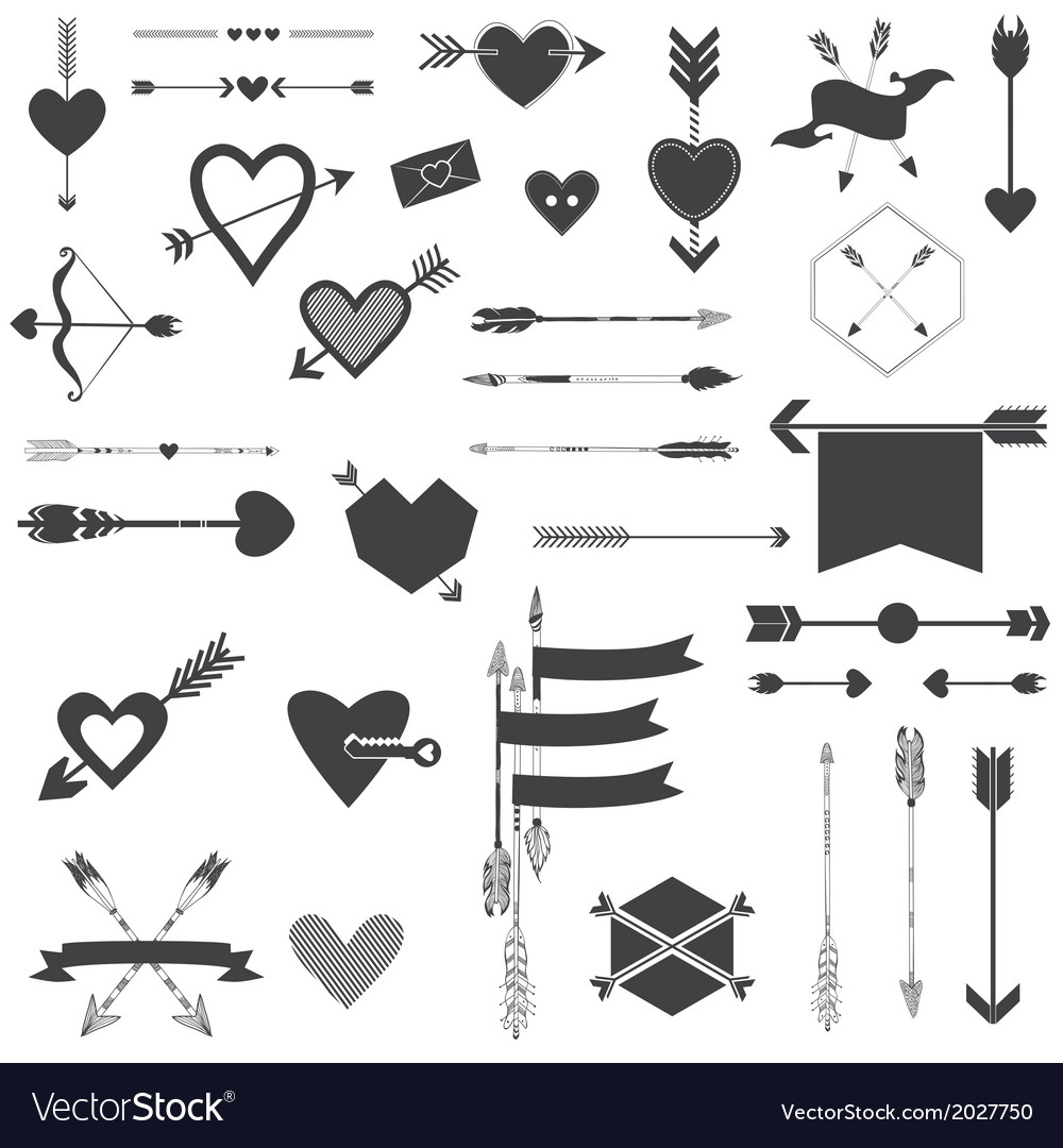 Hearts and arrows set vector | Price: 1 Credit (USD $1)
