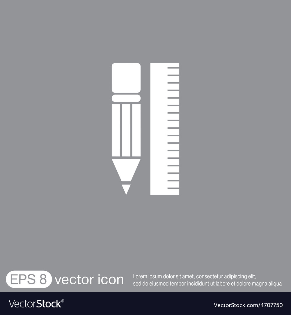 Ruler and pencil characters geometry vector | Price: 1 Credit (USD $1)