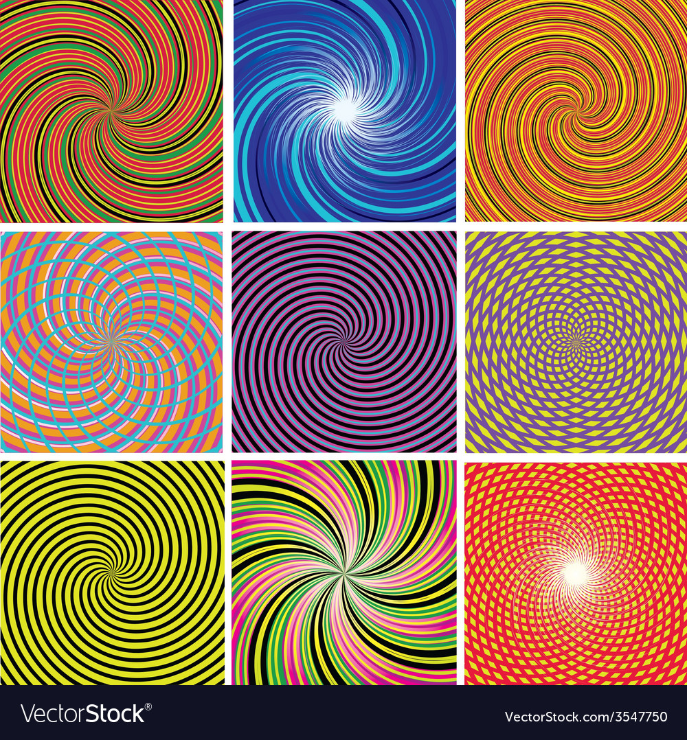 Set abstract twirl background vector | Price: 1 Credit (USD $1)