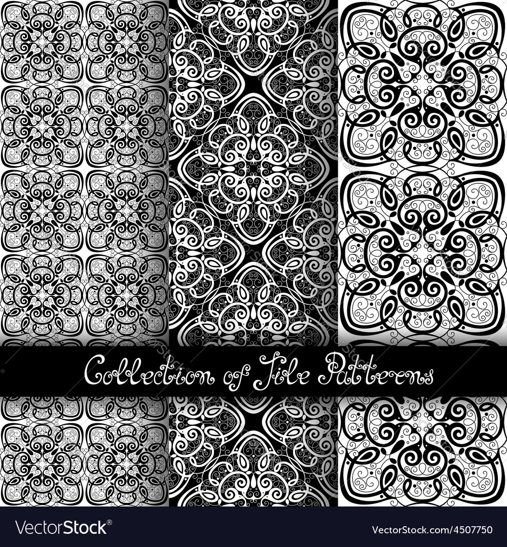 Set of 3 seamless vintage patterns vector | Price: 1 Credit (USD $1)