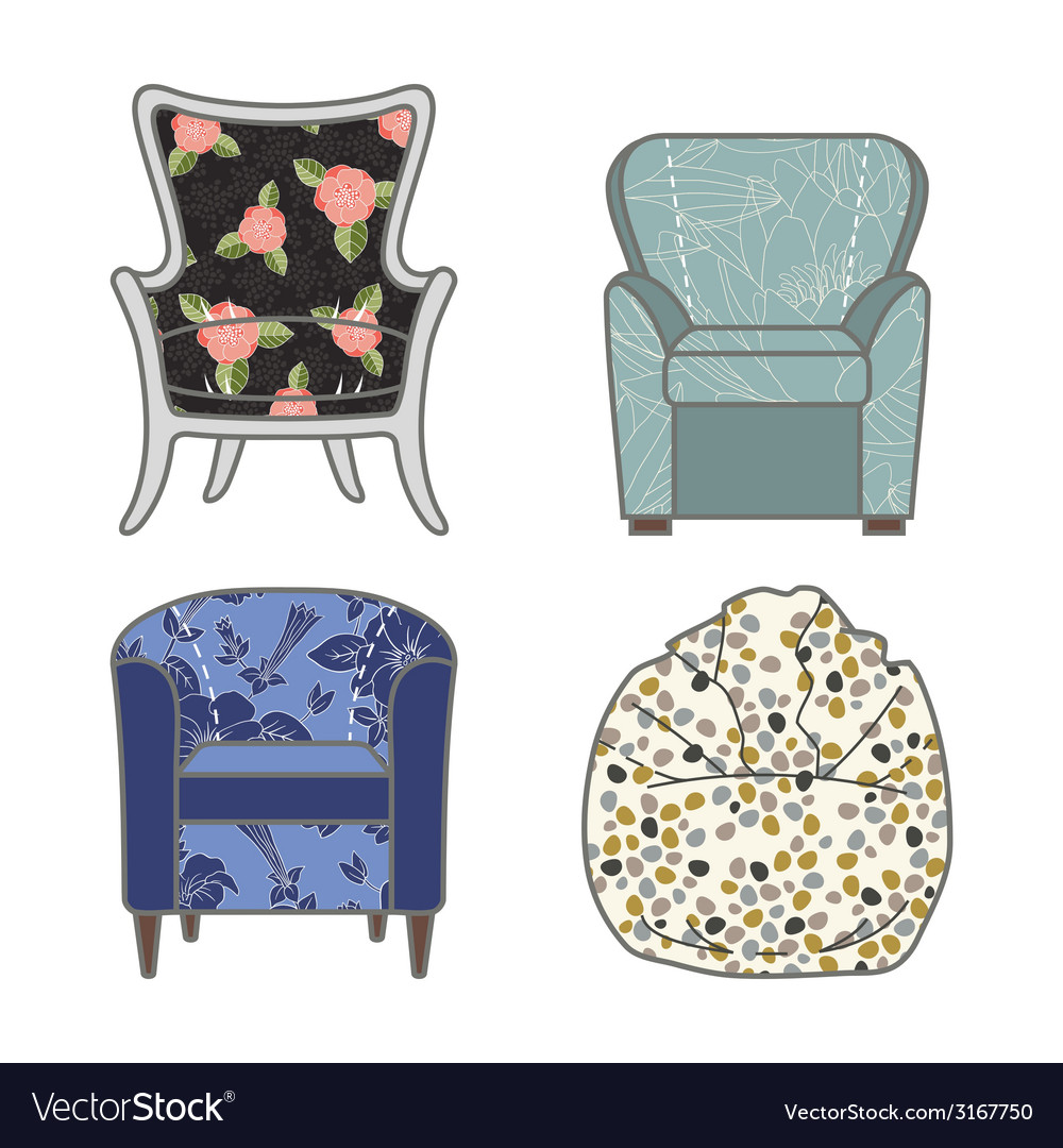 Set of colorfull and patterned armchairs vector | Price: 1 Credit (USD $1)