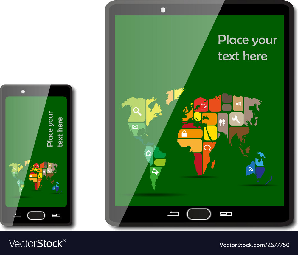 Smart phones with maps vector | Price: 1 Credit (USD $1)