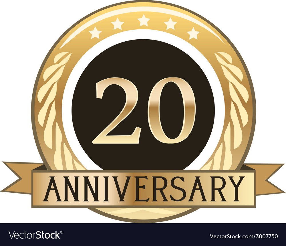 Twenty year anniversary badge vector | Price: 1 Credit (USD $1)