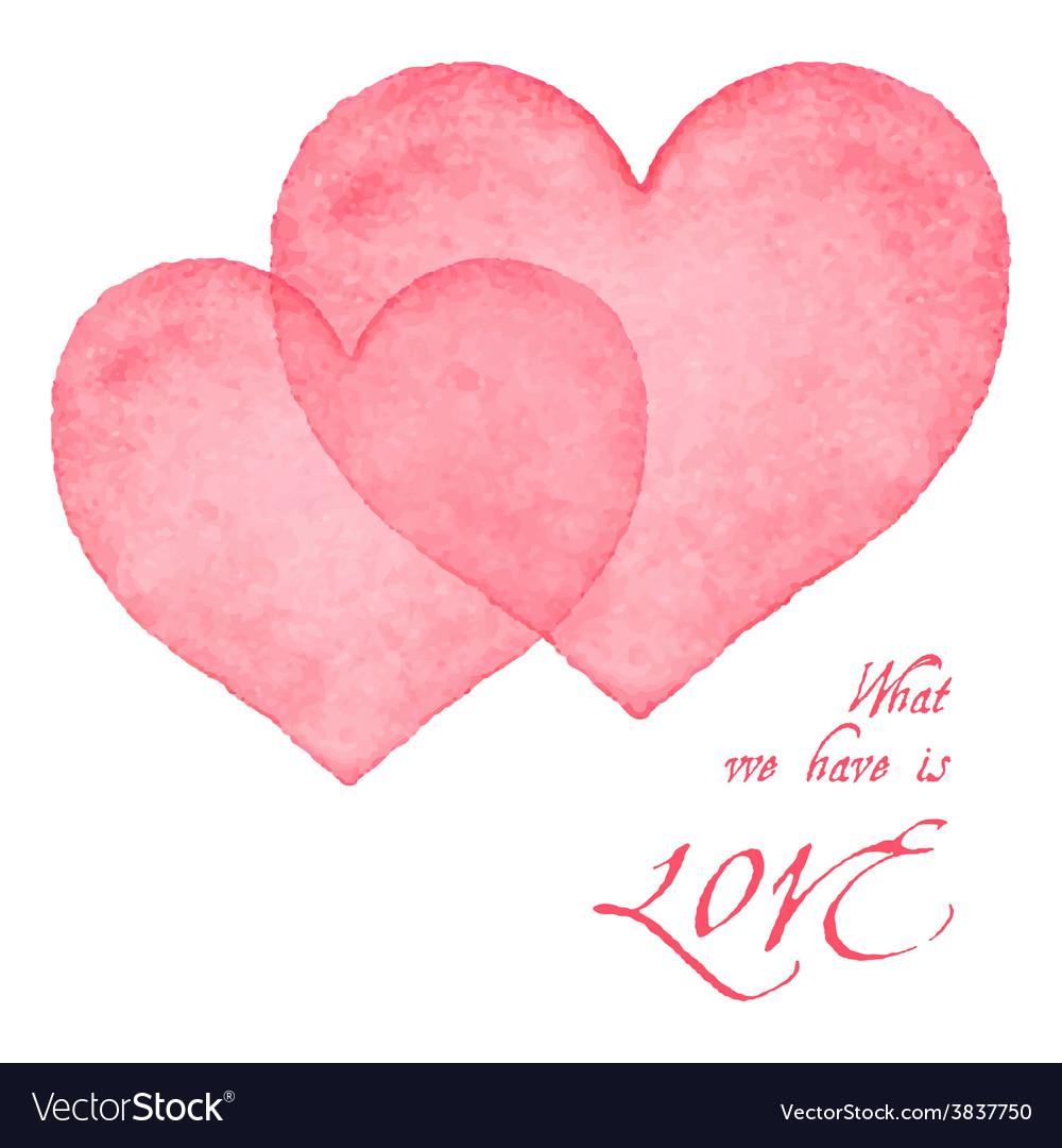 Watercolor hearts card vector | Price: 1 Credit (USD $1)